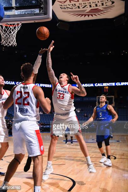 Taylor King of the Texas Legends attempts to catch a rebound against the Agua Caliente Clippers in Ontario on November 10 2017 at Citizens Business...