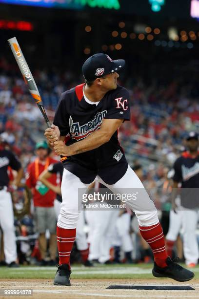 Taylor Kinney bats during the AllStar and Legends Celebrity Softball Game at Nationals Park on July 15 2018 in Washington DC