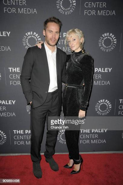 Taylor Kitsch and Andrea Riseborough attend Waco world premiere screening at The Paley Center for Media on January 24 2018 in New York City