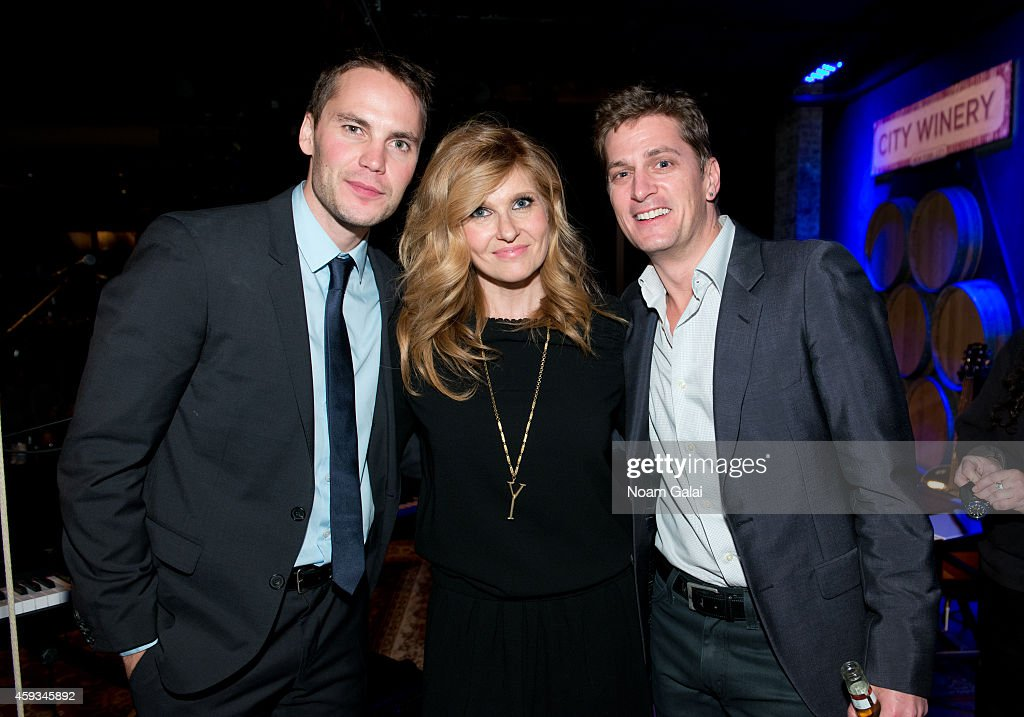 Taylor Kitsch, Connie Britton and Rob Thomas pose backstage at the 6th Annual African Children's Choir Changemakers Gala at City Winery on November 20, 2014 in New York City.