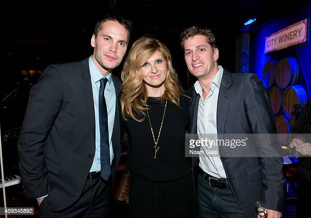 Taylor Kitsch Connie Britton and Rob Thomas pose backstage at the 6th Annual African Children's Choir Changemakers Gala at City Winery on November 20...