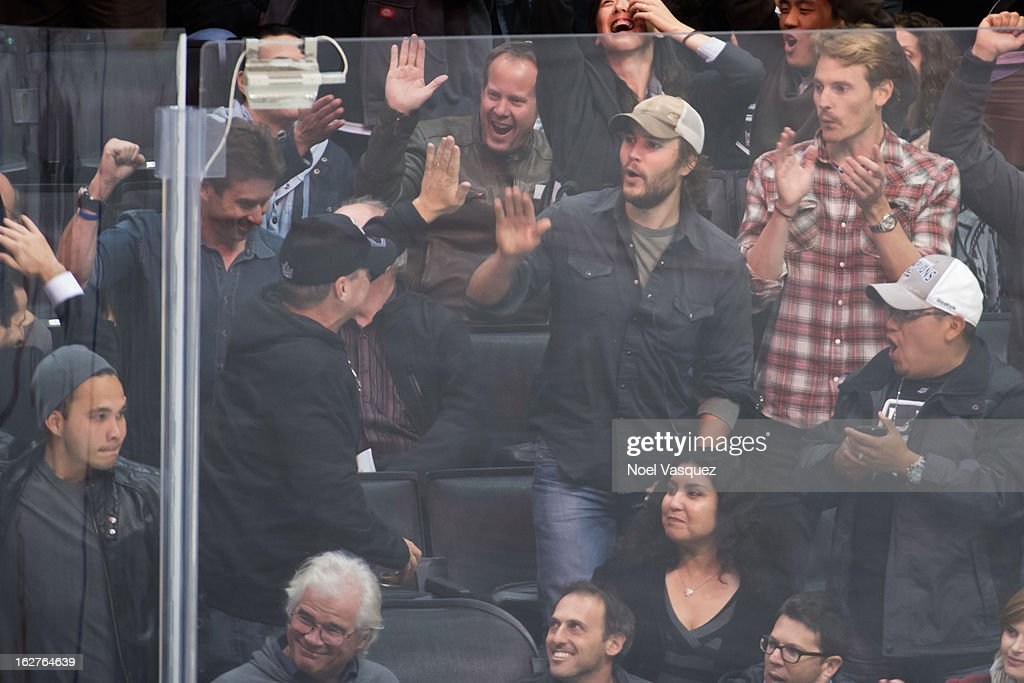 Taylor Kitsch is sighted at a hockey game between the Anahiem Ducks and Los Angeles Kings at Staples Center on February 25, 2013 in Los Angeles, California.