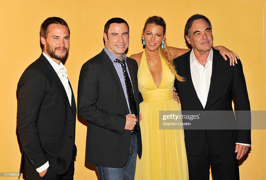 Taylor Kitsch, John Travolta, Blake Lively and Director Oliver Stone attend the 'Savages' New York premiere at SVA Theater on June 27, 2012 in New York City.