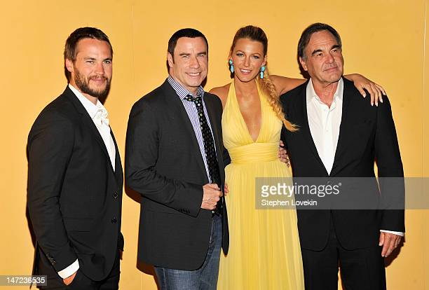 Taylor Kitsch John Travolta Blake Lively and Director Oliver Stone attend the 'Savages' New York premiere at SVA Theater on June 27 2012 in New York...