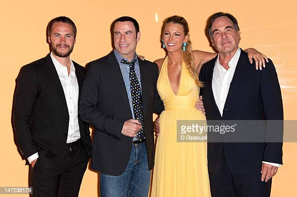 Taylor Kitsch John Travolta Blake Lively and Oliver Stone attend the Savages New York Premiere at SVA Theater on June 27 2012 in New York City