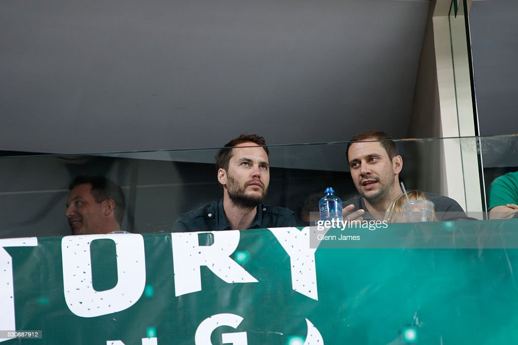 Taylor Kitsch watches the action between the Dallas Stars and the St. Louis Blues in Game Seven of the Western Conference Second Round during the 2016 NHL Stanley Cup Playoffs at the American Airlines Center on May 11, 2016 in Dallas, Texas.