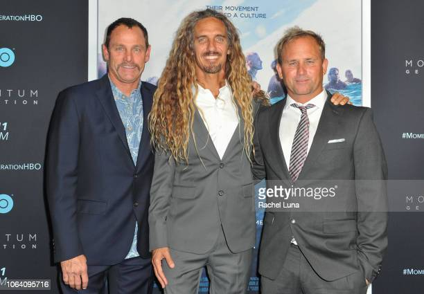 Taylor Knox Rob Machado and Pat O'Connell attend HBO's Momentum Generation Premiere at The Broad Stage on November 05 2018 in Santa Monica California