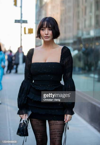 Taylor LaShae is seen outside SelfPortrait during New York Fashion Week Fall/Winter 20 on February 08 2020 in New York City
