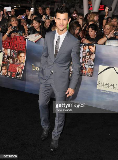 Taylor Lautner arrives at the The Twilight Saga Breaking Dawn Part 2 Los Angeles Premiere at Nokia Theatre LA Live on November 12 2012 in Los Angeles...