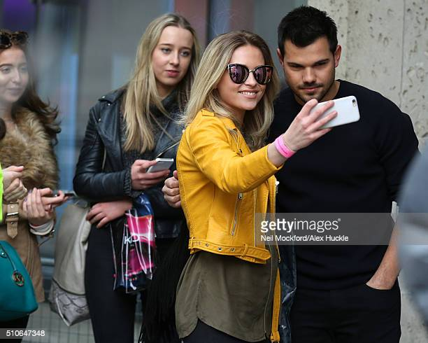 Taylor Lautner at BBC Broadcasting House for his Guinness World Record attempt at 'Most Selfies in 3 Minutes' on February 16 2016 in London England