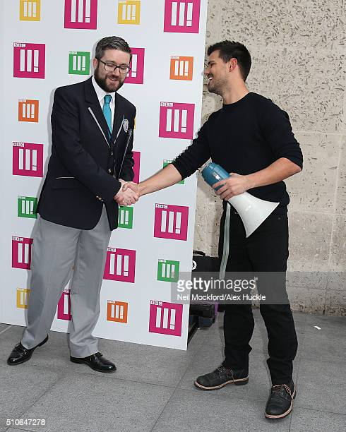 Taylor Lautner being told he was unsuccessful in his Guinness World Record attempt at 'Most Selfies in 3 Minutes' on February 16 2016 in London...