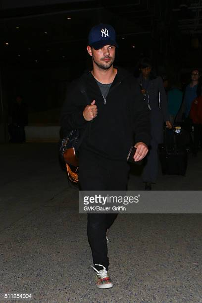 Taylor Lautner is seen at LAX on February 18 2016 in Los Angeles California