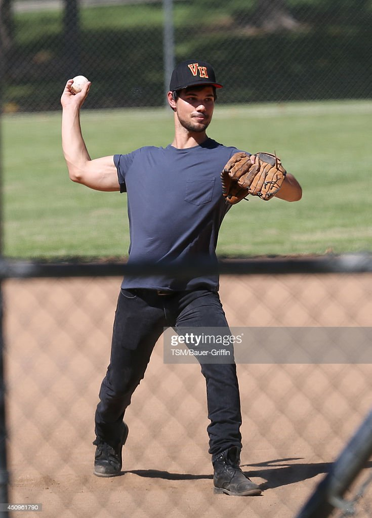 Taylor Lautner is seen on the set of 'Run The Tide' on June 20, 2014 in Los Angeles, California.