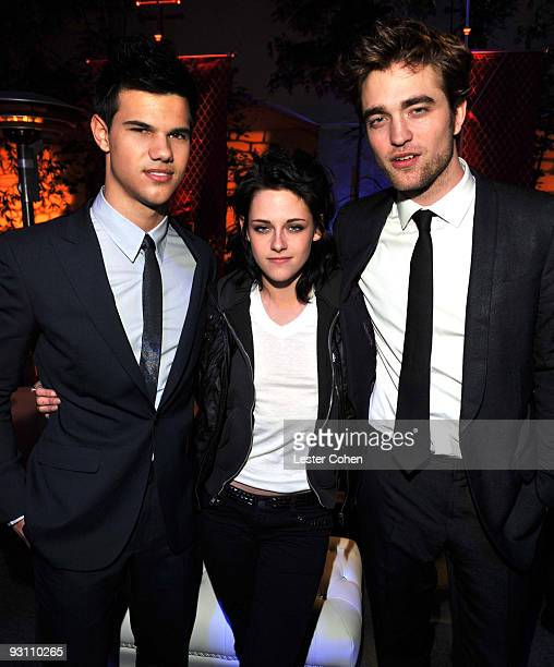 Taylor Lautner Kristen Stewart and Robert Pattinson arrive at the after party for the premiere of Summit Entertainment's The Twilight Saga New Moon...