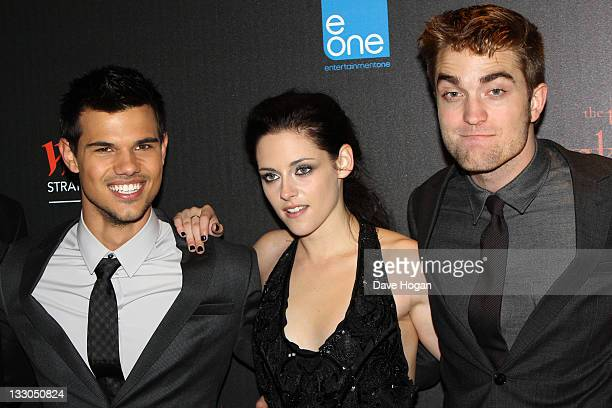 Taylor Lautner Kristen Stewart and Robert Pattinson attend the UK premiere of The Twilight Saga Breaking Dawn Part 1 at Westfield Stratford City on...