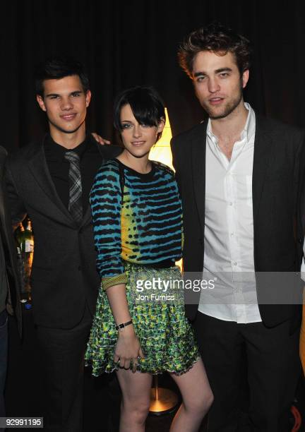 Taylor Lautner, Kristen Stewart and Robert Pattinson attends The Twilight Saga: New Moon, UK fan event at Battersea Evolution on November 10, 2009 in...