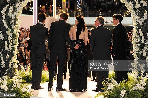 Taylor Lautner Robert Pattinson Kristen Stewart director Bill Condon and producer Wyck Godfrey attend the UK Premiere of 'The Twilight Saga Breaking...