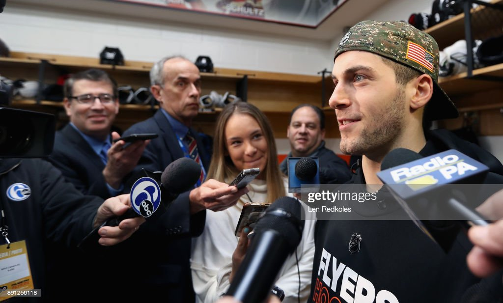 Taylor Leier #20 of the Philadelphia Flyers speaks to the media after defeating the Toronto Maple Leafs 4-2 on December 12, 2017 at the Wells Fargo Center in Philadelphia, Pennsylvania.