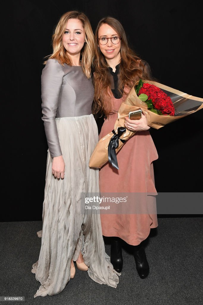 Taylor Louderman and Leanne Marshall pose backstage for Leanne Marshall during New York Fashion Week: The Shows at Gallery II at Spring Studios on February 14, 2018 in New York City.
