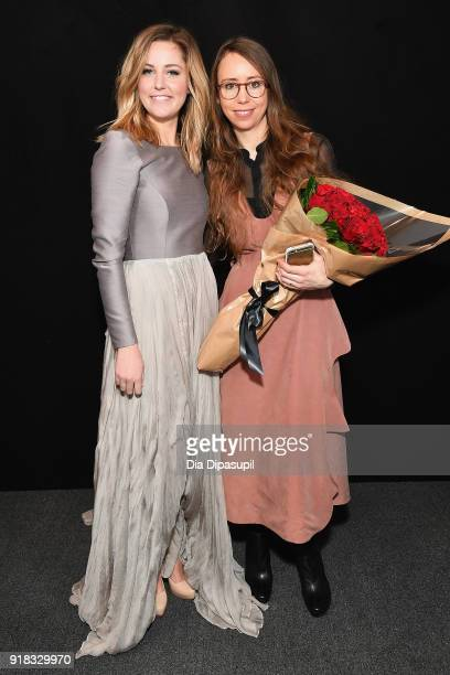 Taylor Louderman and Leanne Marshall pose backstage for Leanne Marshall during New York Fashion Week The Shows at Gallery II at Spring Studios on...