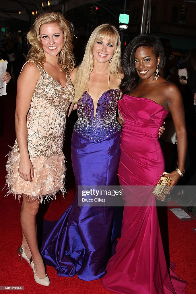 Taylor Louderman, Laura Bell Bundy and Adrienne Warren attend the 66th Annual Tony Awards at the Beacon Theatre on June 10, 2012 in New York City.