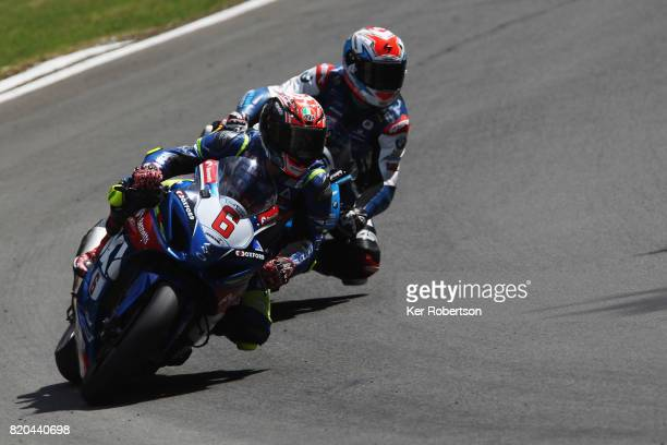 Taylor MacKenzie of Bennetts Suzuki team rides during practice for the British Superbike Championship at Brands Hatch on July 21, 2017 in Longfield,...