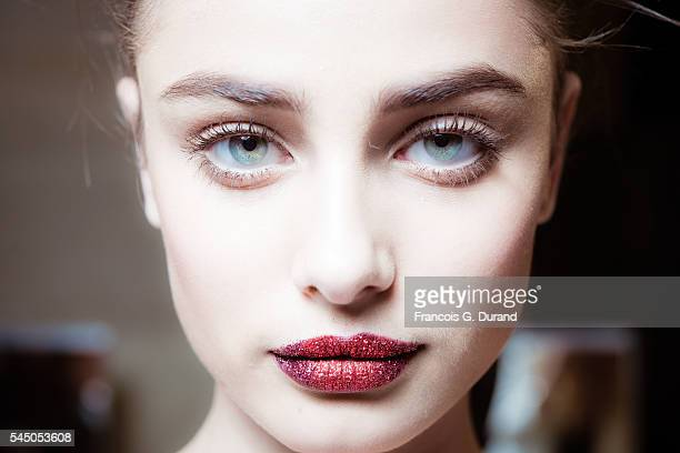 Taylor Marie Hill poses Backstage prior the Atelier Versace Haute Couture Fall/Winter 20162017 show as part of Paris Fashion Week on July 3 2016 in...