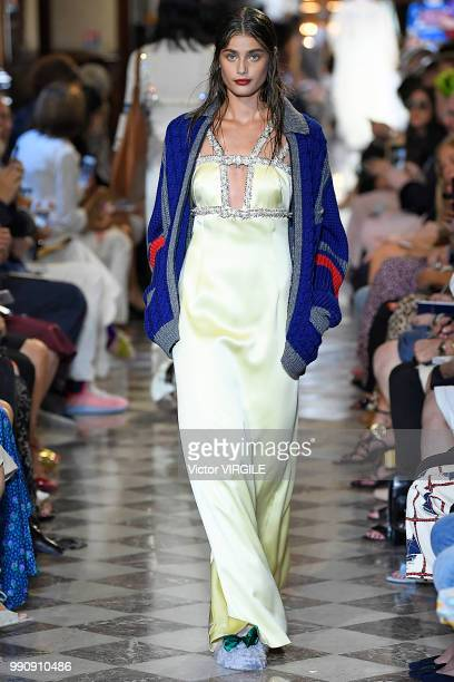 Taylor Marie Hill walks the runway during the finale of the Miu Miu 2019 Cruise Collection Show at Hotel Regina on June 30 2018 in Paris France