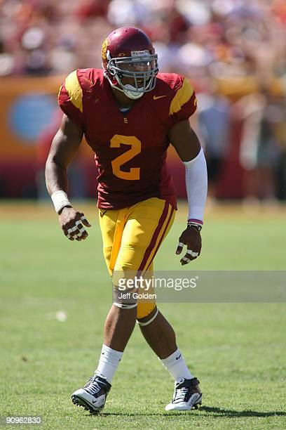 Taylor Mays of the USC Trojans eyes the play against the San Jose State Spartans on September 5, 2009 at the Los Angeles Memorial Coliseum in Los...
