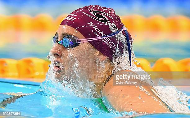 Taylor McKeown of Australia competes in the Women's 200 Metre Breaststroke during day four of the Australian Swimming Championships at the South...