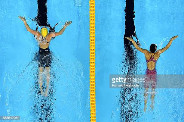 Taylor McKeown of Australia leads Rie Kaneto of Japan in the Women's 200m Breaststroke Final on Day 6 of the Rio 2016 Olympic Games at the Olympic...