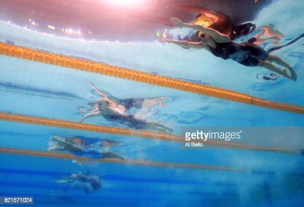 Taylor Mckeown of Australia Lilly King of the United States and Ruta Meilutyte of Lithuania competes during the Women's 100m Breaststroke Semifinals...