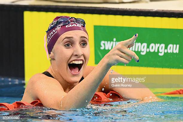 Taylor McKoewn of Australia celebrates winning the Women's 200 Metre Breaststroke during day six of the 2016 Australian Swimming Championships at the...