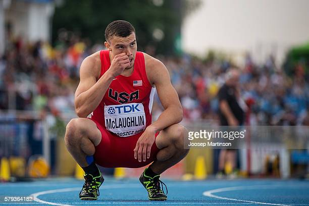 Taylor Mclaughlin from USA competes in men's 400 metres hurdles during the IAAF World U20 Championships at the Zawisza Stadium on July 23, 2016 in...
