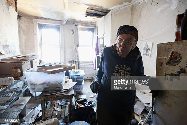Taylor Mead an iconic Beat generation poet and star of films by Andy Warhol and others stands while posing in his Lower East Side apartment a week...