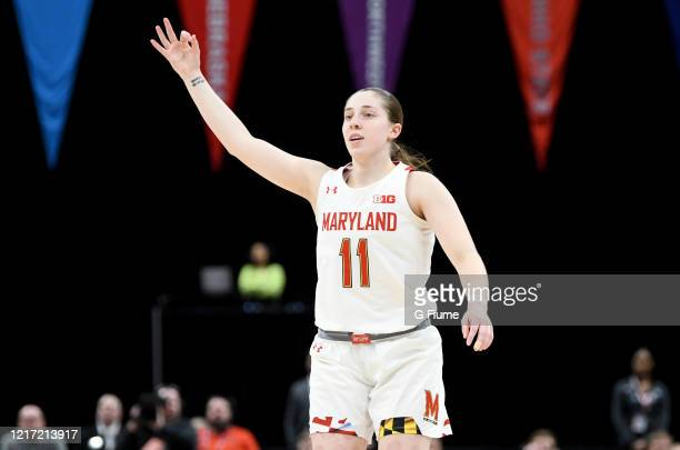 Taylor Mikesell of the Maryland Terrapins celebrates during the game against the Ohio State Buckeyes during the Championship game of Big Ten Women's...