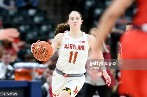 Taylor Mikesell of the Maryland Terrapins handles the ball against the Ohio State Buckeyes during the Championship game of Big Ten Women's Basketball...