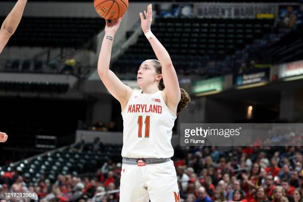 Taylor Mikesell of the Maryland Terrapins shoots the ball against the Ohio State Buckeyes during the Championship game of Big Ten Women's Basketball...