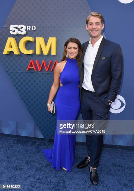 Taylor Mills and Brett Young attend the 53rd Academy of Country Music Awards at MGM Grand Garden Arena on April 15 2018 in Las Vegas Nevada