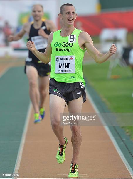 Taylor Milne wins the 3000 m Steeplechase with 8'36''50 ahead of Chris Winter and Antoine Thibeault during the third day of the 2016 Canadian Track...