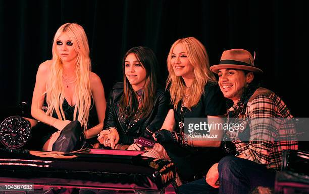 "Taylor Momsen, Lola Leon, Madonna and choreographer Norman Charlemoine attend the launch of ""Material Girl"" at Macy's Herald Square on September 22,..."