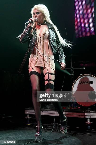 Taylor Momsen of The Pretty Reckless performs at Perez Hilton's One Night in Austin during SXSW 2011 on March 19 2011 in Austin Texas