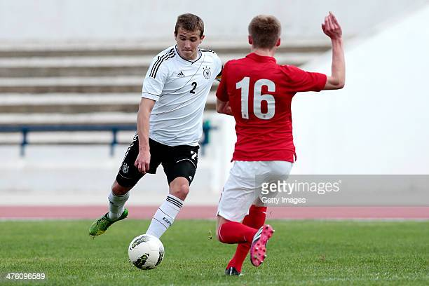 Taylor Moore of England challenges Lukas Boeder of Germany during the Under17 Algarve Cup between U17 England and U17 Germany at Lagos sport complex...