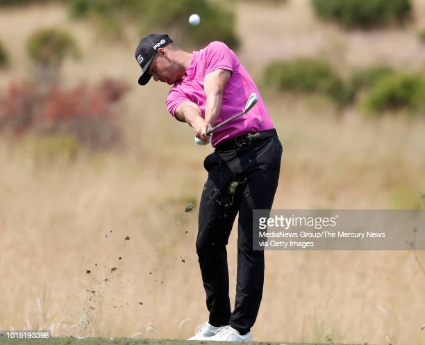 Taylor Moore teesoff on the fourth hole during his practice round for the Ellie Mae Classic golf tournament at TPC Stonebrae in Hayward Calif on...