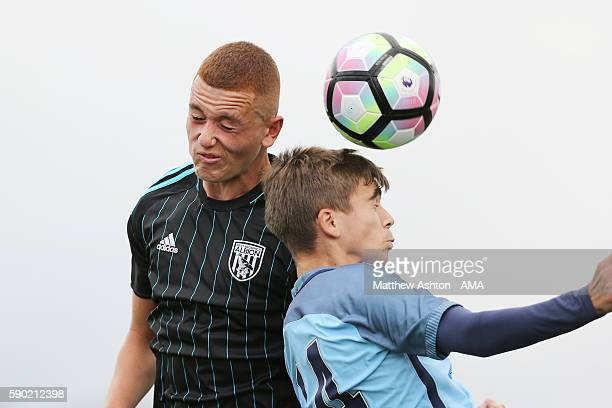 Taylor Morrison of West Bromwich Albion U18 and Iker Pozo of Manchester City U18 during the U18 Premier League match between Manchester City and West...