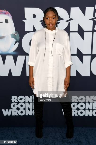 """Taylor Mosby attends the Premiere Of Disney Studios' """"Ron's Gone Wrong"""" at El Capitan Theatre on October 19, 2021 in Los Angeles, California."""