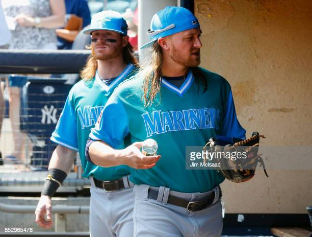 Taylor Motter and Ben Gamel of the Seattle Mariners of the Seattle Mariners prepare for a game against the New York Yankees at Yankee Stadium on...