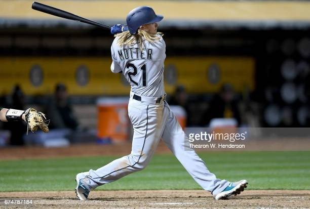 Taylor Motter of the Seattle Mariners bats against the Oakland Athletics in the top of the fifth inning at Oakland Alameda Coliseum on April 21 2017...