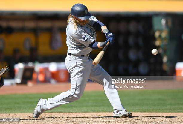 Taylor Motter of the Seattle Mariners bats against the Oakland Athletics in the top of the fifth inning at Oakland Alameda Coliseum on September 27...