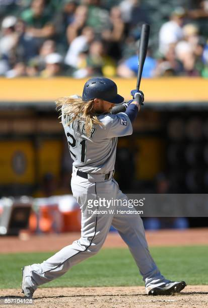 Taylor Motter of the Seattle Mariners bats against the Oakland Athletics in the top of the six inning at Oakland Alameda Coliseum on September 27...